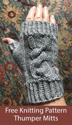Free Knitting Pattern for Thumper Mitts - Fingerless mitts with a cute bunny cable. Designed by Karen Hoyle. Free Knitting Pattern for Thumper Mitts - Fingerless mitts with a cute bunny cable. Designed by Karen Hoyle. Animal Knitting Patterns, Knitting Designs, Knit Patterns, Knitting Tutorials, Stitch Patterns, Free Knitting, Baby Knitting, Knitting Stitches, Knitting Toys