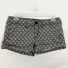 American Eagle Outfitters Womens 0 Black White Floral Stretch Shorts  #AmericanEagleOutfitters #DenimShorts