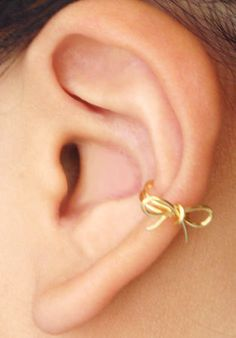Ear Cuff Gold Bow Dainty Ear Wrap by MaggieMadeWithLove