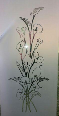 Aurum lily sandblast on glass