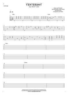 how to play yesterday on guitar tabs