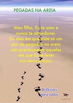 Pegadas na Areia (texto completo) >> acesse #Deus #Senhor #mensagem…