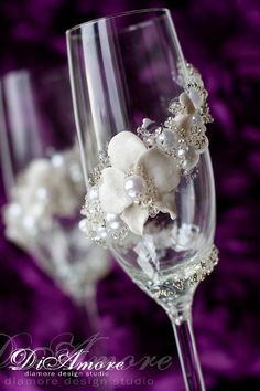 Handmade champagne glasses / white wedding toasting by DiAmoreDS