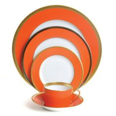 Haviland - Laque De Chine Orange Gold Five Piece with Dessert