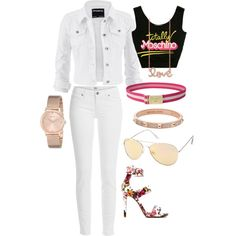 A fashion look from March 2015 featuring Moschino tops, Paige Denim jeans and Sydney Evan necklaces. Browse and shop related looks.