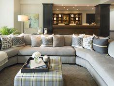 Minnetonka New Construction - by Vivid Interior and Hendel Homes #interiordesign #familyroom #entertaining #bar #modern #contemporary #classic #ottoman #sectional #green #lime