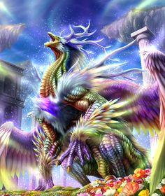 Credits to creator Rainbow Dragon Mystical Animals, Mythical Creatures Art, Mythological Creatures, Magical Creatures, Fantasy Creatures, Mythical Dragons, Dragon City, Beautiful Dragon, Fantasy Beasts