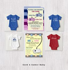 Geek and Gamer Onesies, Invites, and Gifts.  #geekbaby #gamerbaby #renfest #pcgamer #genderrevealinvites #babygifts