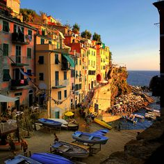 | ♕ | Riomaggiore at sunset | by © B℮n | via ysvoice,  favela of dreams,
