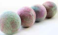 Wool dryer balls  set of 4 extra large soft pastels by NutmegNaturalsCT
