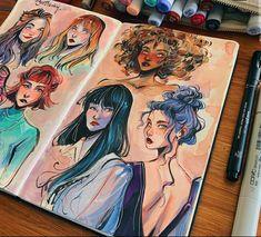 Girl Drawing Sketches, Art Drawings, Pretty Art, Cute Art, Arte Sketchbook, Sketchbook Inspiration, Marker Art, Art Reference Poses, Aesthetic Art