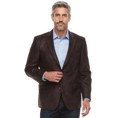 Men's Jean-Paul Germain Classic-Fit Faux-Leather Sport Coat, Size: 50 - regular, Brown