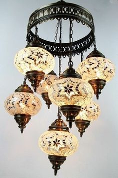 Turkish hand made ceramic  chandelier Moroccan lamp #Moroccan $135+$89 Shipping