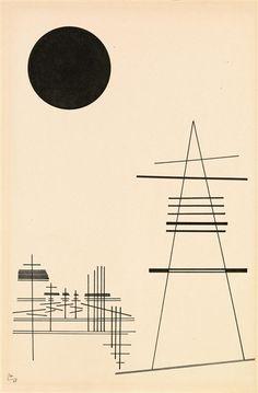 Artwork by Wassily Kandinsky, Zeichnung für Punkt und Linie zu Fläche (Drawing for point and line to surface), Made of Indian ink on paper mounted on cardboard