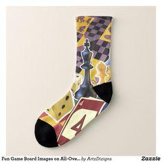 Fun Game Board Images on All-Over-Print-Socks Socks