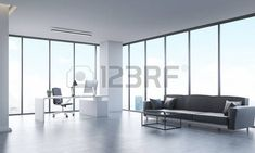 Panoramic city view from office with long gray sofa, white computer table and black leather armchair. Concept of office life. 3d rendering. photo