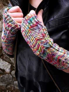 """""""Possessed Printer"""" knitting pattern for fingerless mitts by EverythingOldCrafts - great way to use handdyed or handpainted variegated yarns!"""