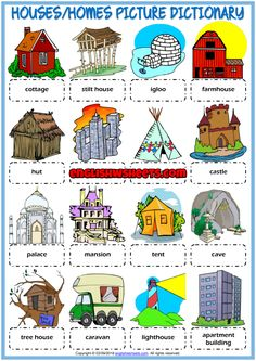 A picture dictionary and classroom poster ESL printable worksheet for kids to study and learn types of houses, homes vocabulary. Look at the pictures and study the words. Useful for teaching and learning types of houses, homes vocabulary.