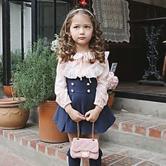 1de26bd31 Wholesale Retail Free Shipping Toddler Girls Chilren Casual Wear Ruffles  Shirt Suspender Skirt Children's 2pc Suit