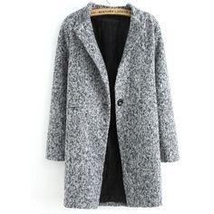 Grey Long Sleeve Single Button Tweed Coat Pattern Type :PlainType :CoatsColor :GreyMaterial :TweedCollar :CollarLength(cm) :S:78cm,M:79cm,L:80cm,XL:81cm,XXL:82…