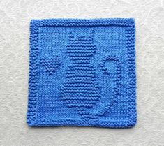CAT & HEART in royal blue ~ 100% cotton knit dishcloth or wash cloth. You wont find this exact design anywhere but Aunt Susans Closet. This adorable kitty with heart was personally designed by me and then hand knitted myself with quality 100% cotton grown in the USA.  ITEM DESCRIPTION: -- Design: Cat Kitten Heart -- Color: Royal Blue -- Size: Approx. 8 x 8 -- Material: 100% cotton grown in USA -- Condition: Brand new, never used -- Care: Machine wash and dry - (Detailed care instructions…