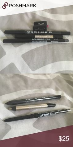 Bare minerals eyeliners and sharpener Three bare mineral eyeliners two full-size one travel size travel size is around the clock 5 AM (shines gold( full-size are around the clock at 1 AM and lasting line absolute black (both are shades of black). Comes with bareMinerals eyeliner sharpener. Never used! Please do not hesitate to ask questions or make offers. bareMinerals Makeup Eyeliner
