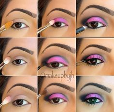 Added By Cristina Underwood.   1. Apply Urban Decay primer potion  2. Apply MAC 'Saddle' over the crease   3. Apply MAC electric cool eyeshadow 'love power' on crease   4. Apply MAC electric cool eyeshadow 'ultraviolet' on lid  5. Apply MAC 'Carbon' on the outer corner of the eye, blending into the crease  6. Apply MAC 'blanc type' on brow bone   7. Apply black eyeliner to waterline  8. Apply red cherry lashes #505     #pictorial #eyes...