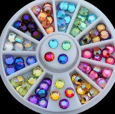 Hot sell  DIY nail art decorations Wheel mix colors Top drill Acrylic Nail Glitter Nail Rhinestones Nail Wheel Nail Tools DIY #Affiliate