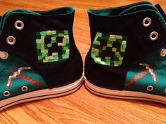 Minecraft Hand Painted Custom Converse Shoes by CandysCustomPaints, $100.00