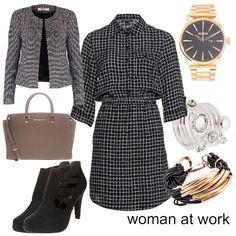il mio primo outfit l'ho pensato per quelle donne che lavorano come segretarie o che  hanno comunque un impiego all'interno di un'azienda o compagnia.   Il colore prevalente è il nero perché trovo che sia una tonalità adatta a situazioni del genere.