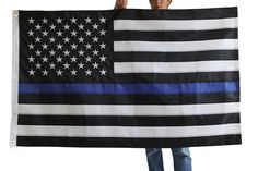 Thin Blue Line Flag - 3 X 5 Foot with Embroidered Stars and Sewn Stripes - Black, White, and Blue American Police Flag to Honor Law Enforcement Officers (LEOs)
