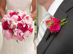 Bouquet and boutonniere by A to Zinnias, Savannah florist.