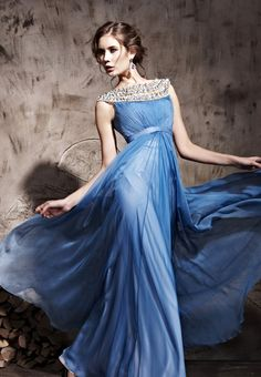 Royal Round Neck Prom Formal Ball Long Evening Dress