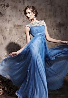 Royal Round Neck Prom Formal Ball Long Evening Dress