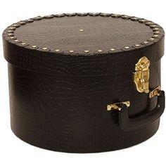 7 1/4 x 11 1/2 Black Crocodile Hat Box with Gold Studs & Handle