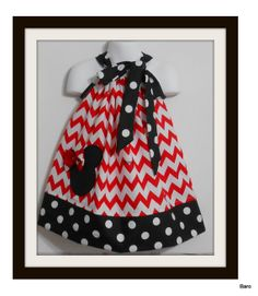Custom Made Pillowcase Dress-Available sizes NB-3T -Chevron Red with Minnie Mouse Applique