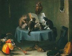 Katzenkonzert - cat concert | oil painting,1635 | David Teniers the Younger