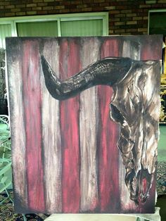 Rustic cattle skull painting on canvas. by amcattic on Etsy