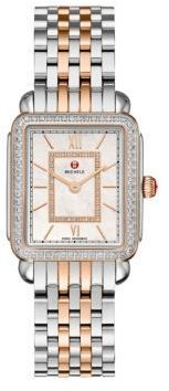 Michele Watches Deco II Diamond, Mother-Of-Pearl, 18K Rose Gold & Stainless Steel Bracelet Watch