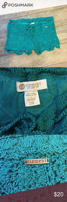 Element lace shorts Element crochet lace shorts. Worn once for a few hours. Color is a teal green. Drawstring waist for a custom fit. element Shorts