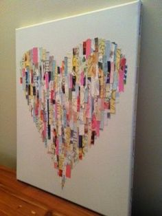 heart made out of old wedding cards or you can use whatever cards you receive.