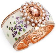 Betsey Johnson White Floral Wide Hinged Bangle Bracelet