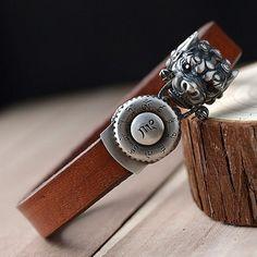Men's Sterling Silver Dragon Clasp Leather Bracelet - Jewelry1000.com