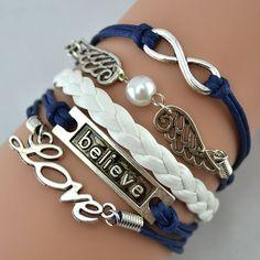 Handmade DIY Infinity Love Bracelet Angle Wings With Believe Leather Cute Charm Bracelet on Luulla