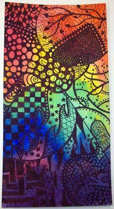 Zentangles on watercolor