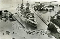 """USS Texas and San Jacinto Inn following a rainstorm, June 1973.    JUN 12-13 Harris County had 10-15"""" of rain; 10 drowned in Alvin, 16.01; Coldspring 16.71"""". Sims and Greens Bayous were out of their banks. Buffalo Bayou at Piney Point 4.98' out its banks."""