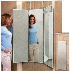 Amazon.com: 3 Way Dressing Mirror Overdoor Tri Fold White Hanging Dorm  Mount Wall Bath: Home U0026 Kitchen