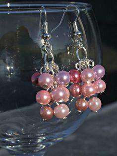 Pink Glass Pearl Earrings by NicolesJewelleryShop on Etsy, £6.00