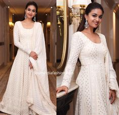 Keerthy Suresh in a white anarkali suit – South India Fashion Indian Gowns Dresses, Indian Fashion Dresses, Dress Indian Style, Indian Designer Outfits, India Fashion, Indian Party Gowns, Flapper Dresses, Emo Fashion, Indian Wear