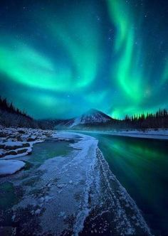 Midnight Magic, Ogilvie River, Yukon, by Marc Adamus